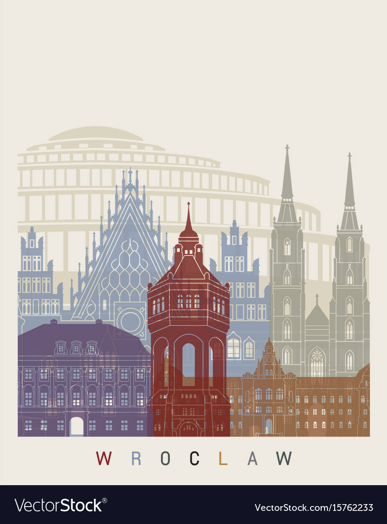 Wroclaw skyline poster vector image