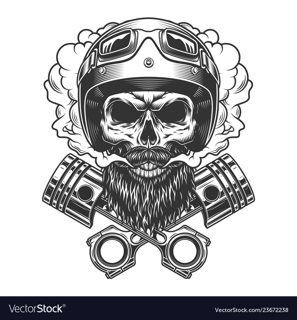 Bearded and mustached motorcyclist skull