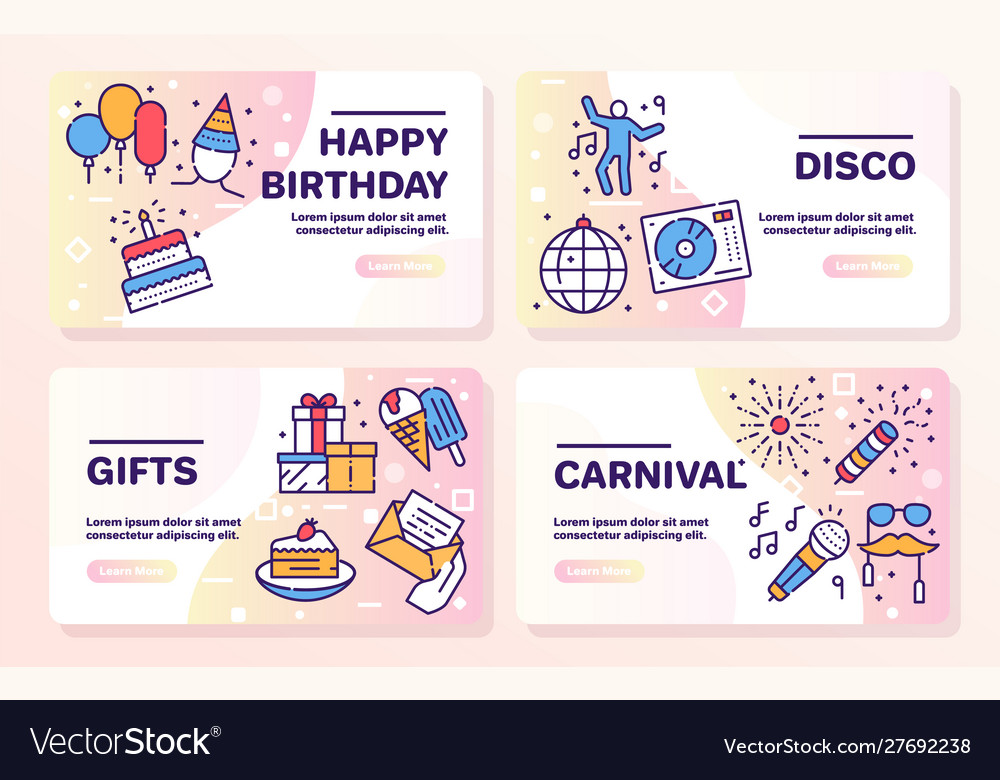 Birthday items color linear icons set