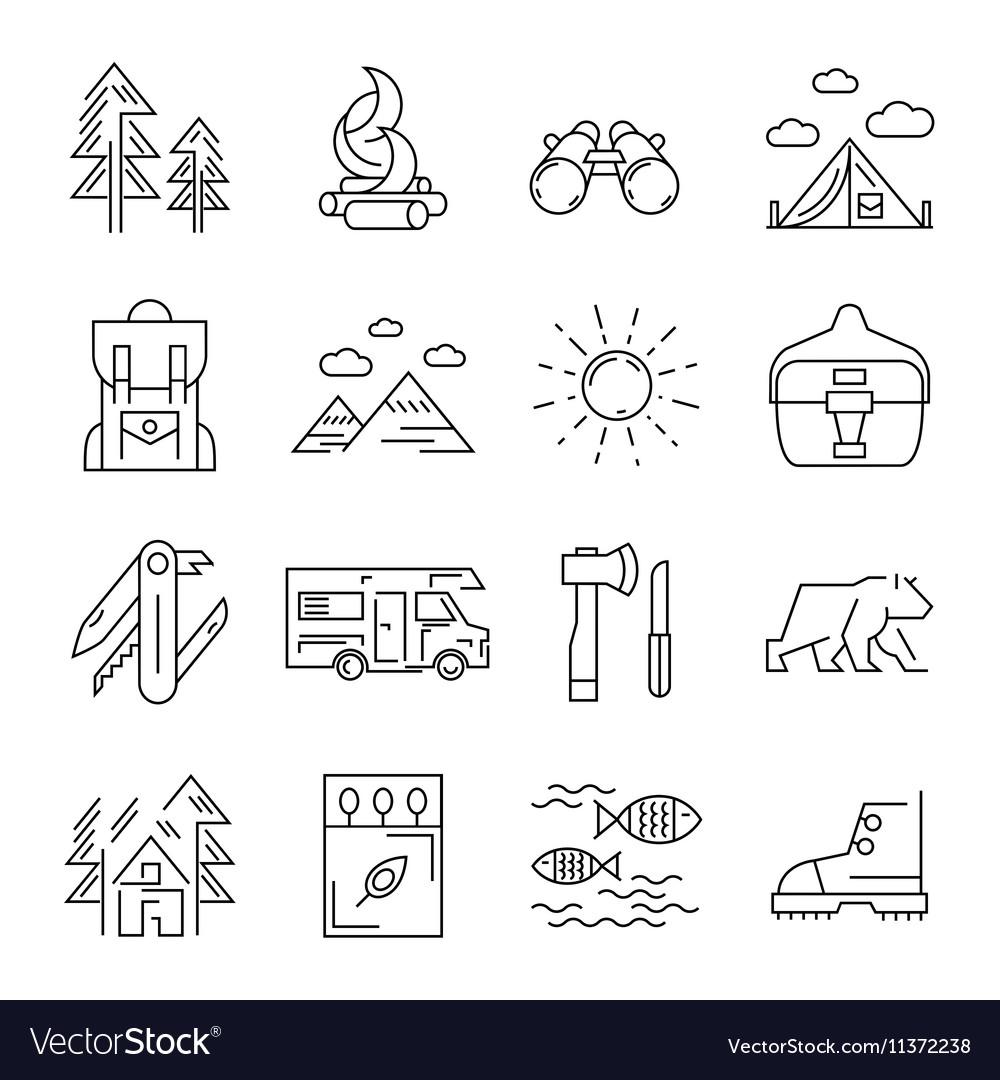 Camping Line Icon Set