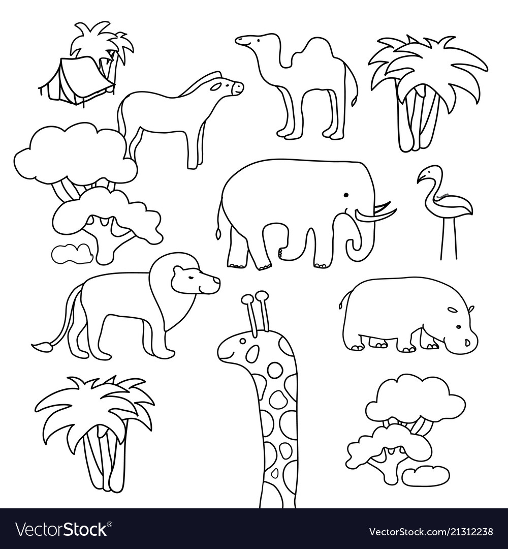 Collection of african animals in a contour flat