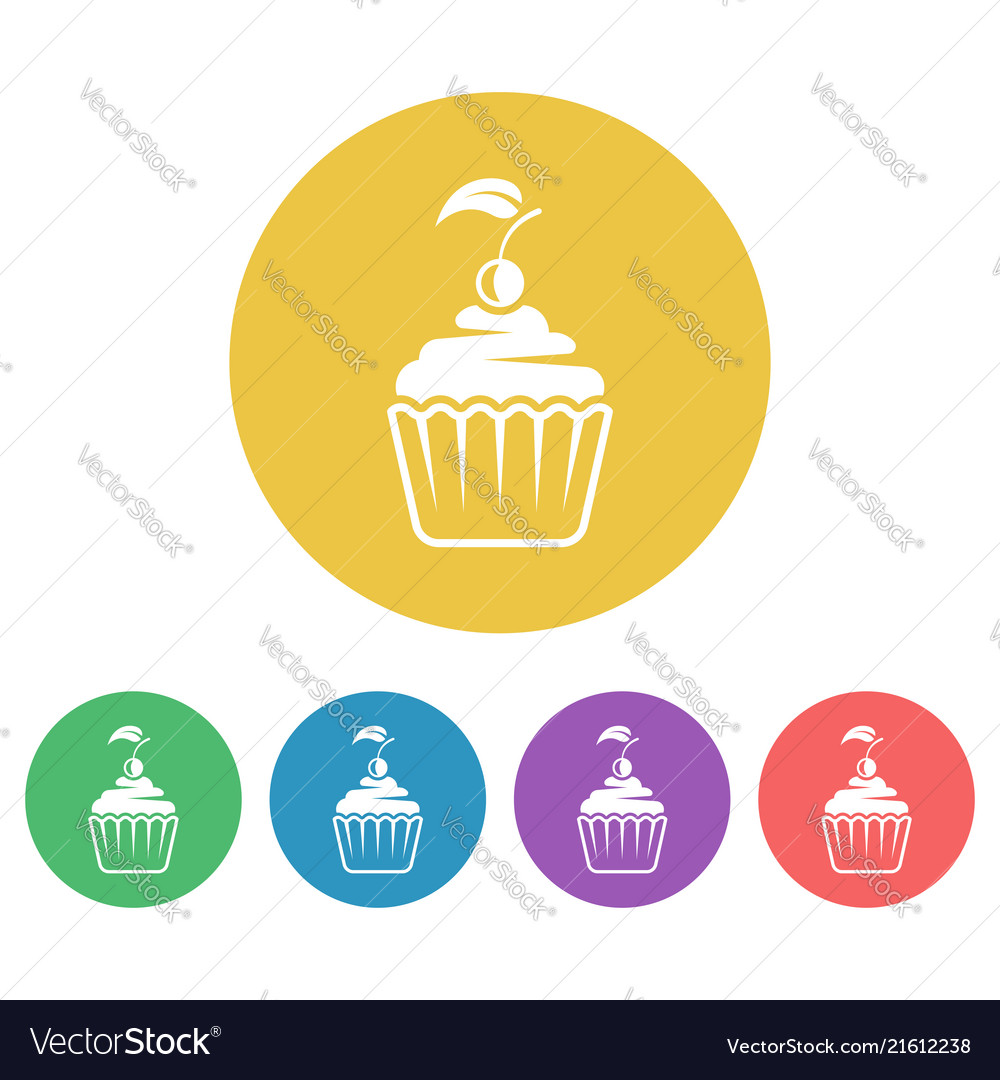 Cupcake colored round flat style icons vector