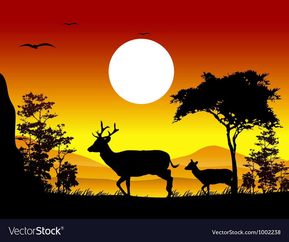 Deer silhouettes with landscape background