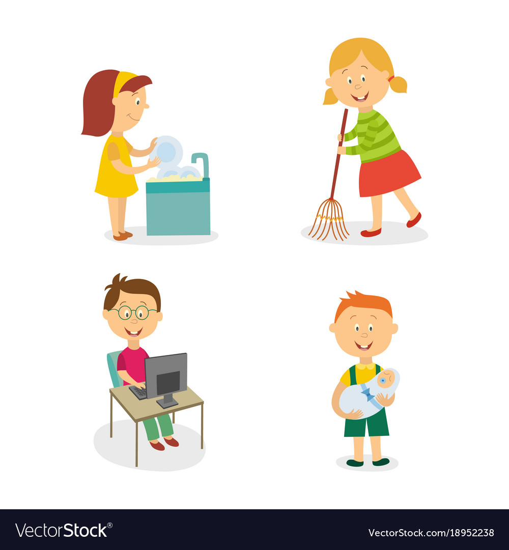 flat kids doing household chores set royalty free vector