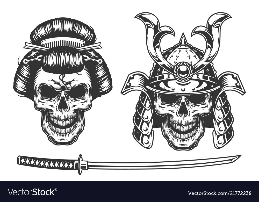 Geisha and samurai concept with skull