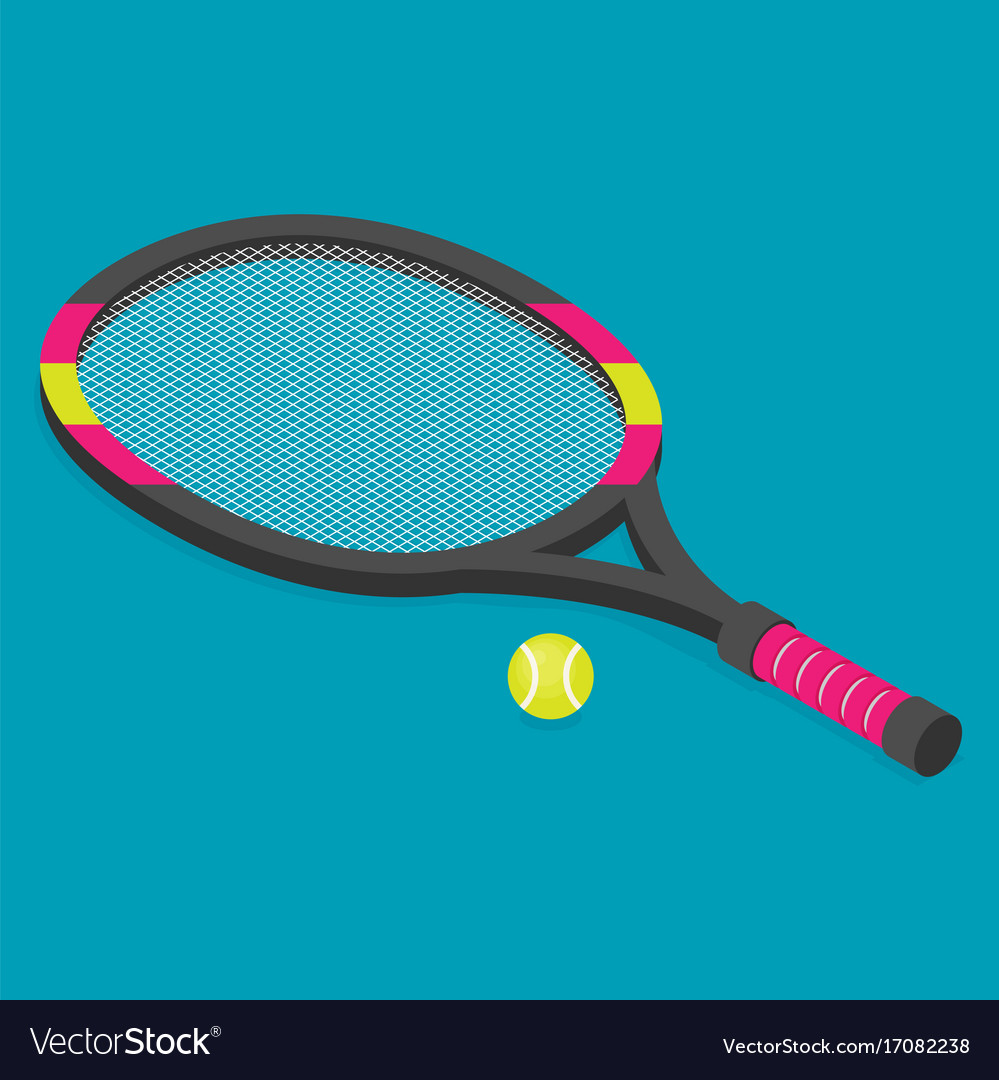 Isometric set of tennis racket and tennis ball