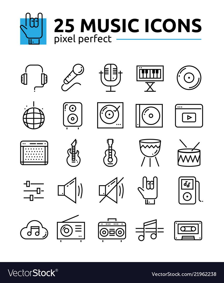 Line music icons set