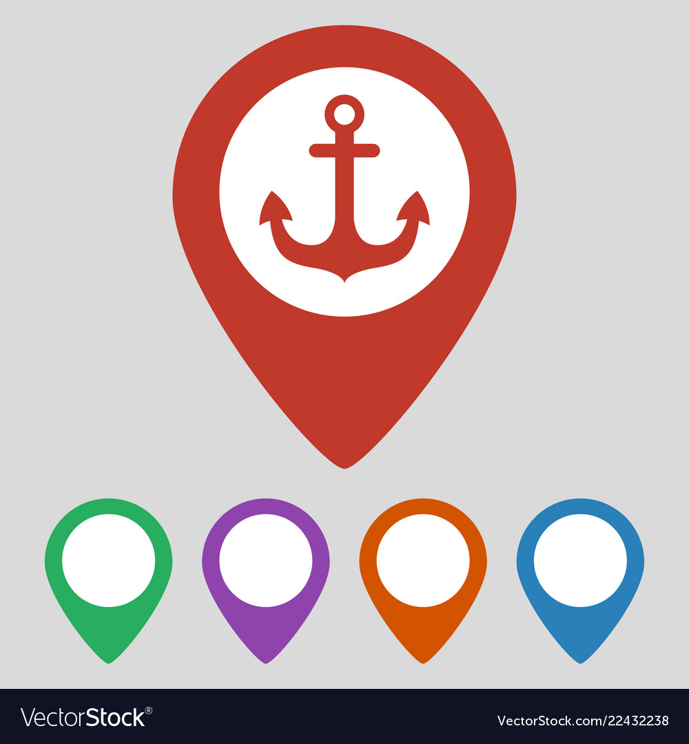 Map pointer with anchor icon on grey background