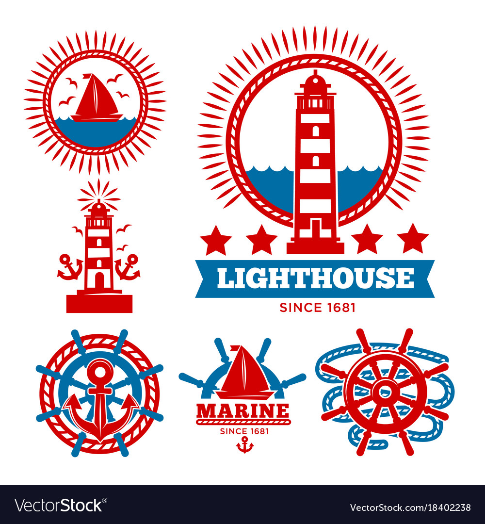 Marine and nautical logo templates or heraldic