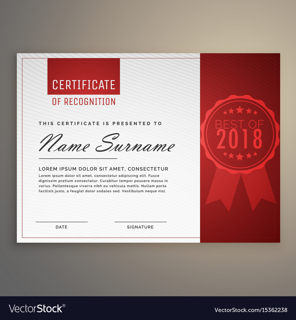 Modern clean red and white certificate design vector image yadclub Gallery