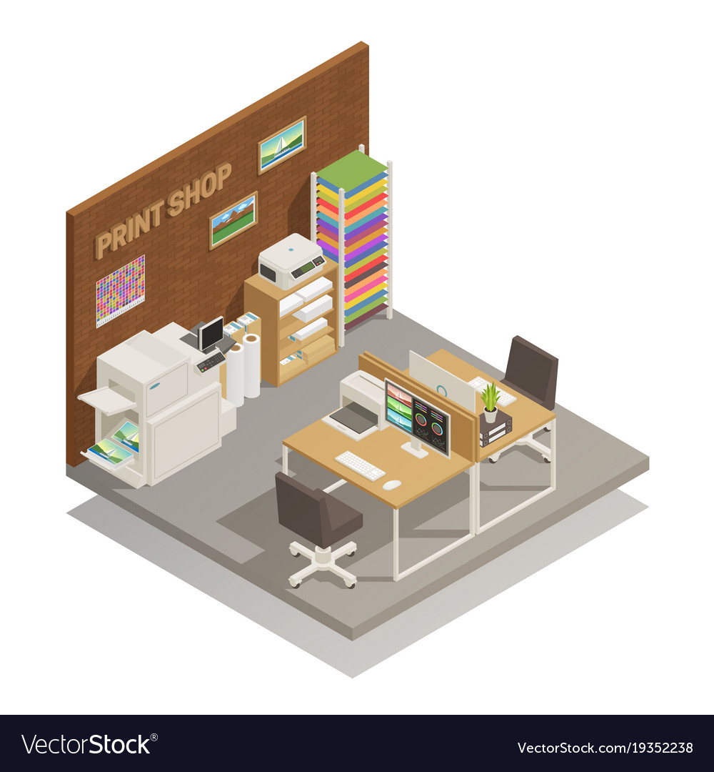 Print shop interior isometric composition