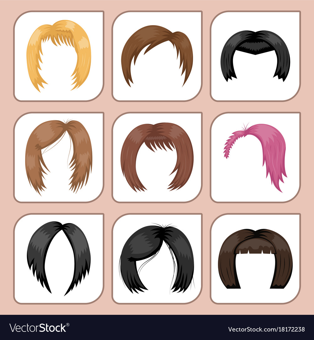 Set of woman hair styling