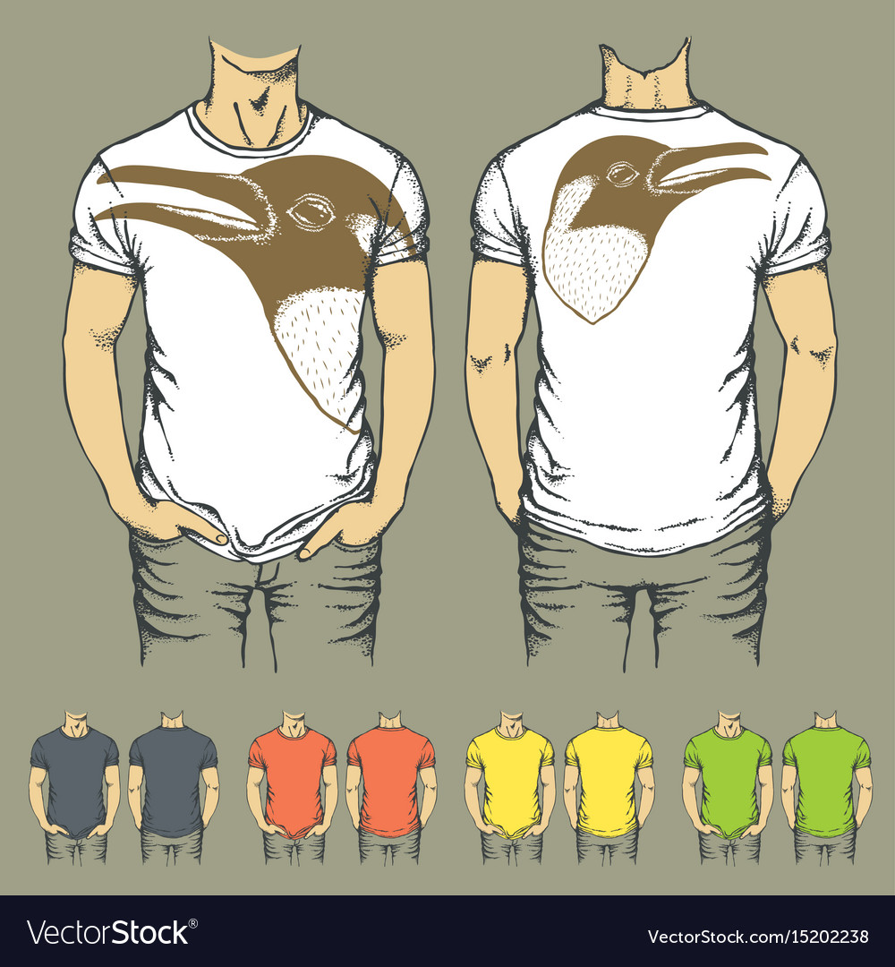 T-shirts templates with prints of animals