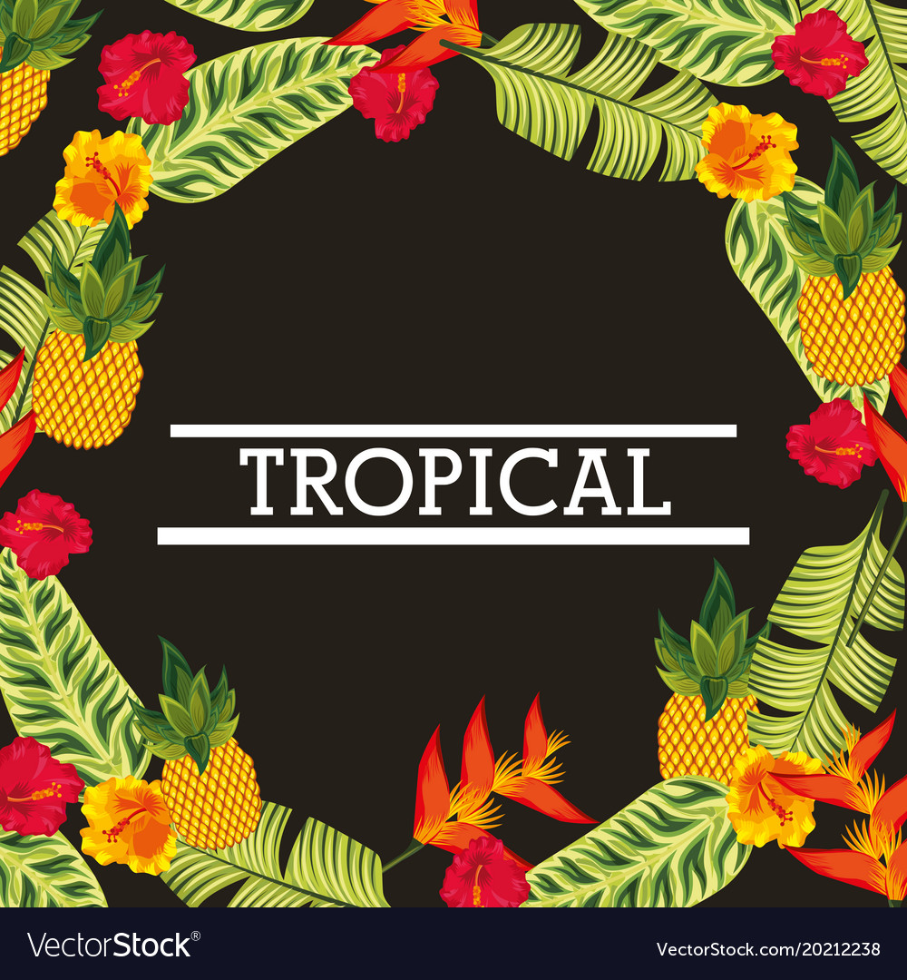 Tropical flower leaves card
