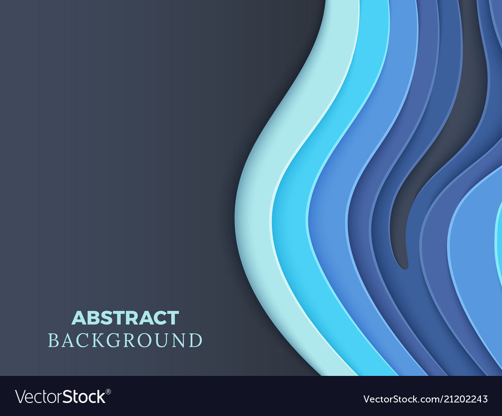 Abstract background with blue layered paper
