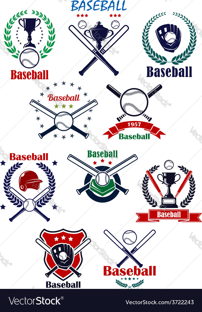 Baseball heraldic emblems or badges with