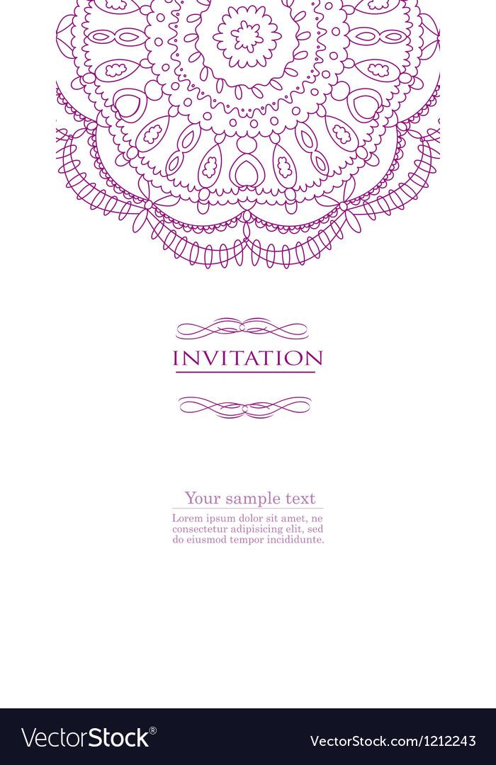 Beautiful purple invitation card vector image