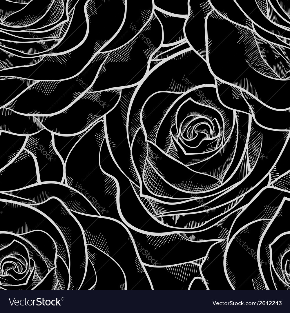 Black and white seamless pattern in roses contours