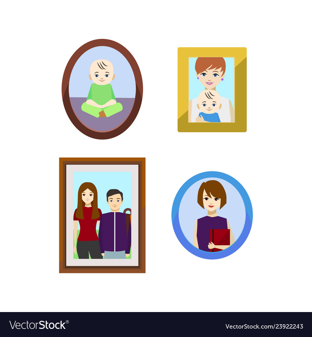 Cartoon family photos in frames set