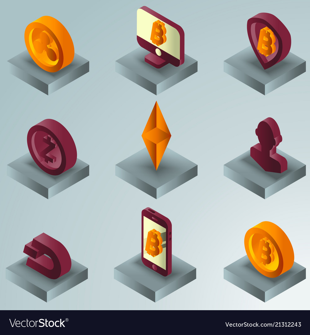 Cryptocurrency color gradient isometric icons