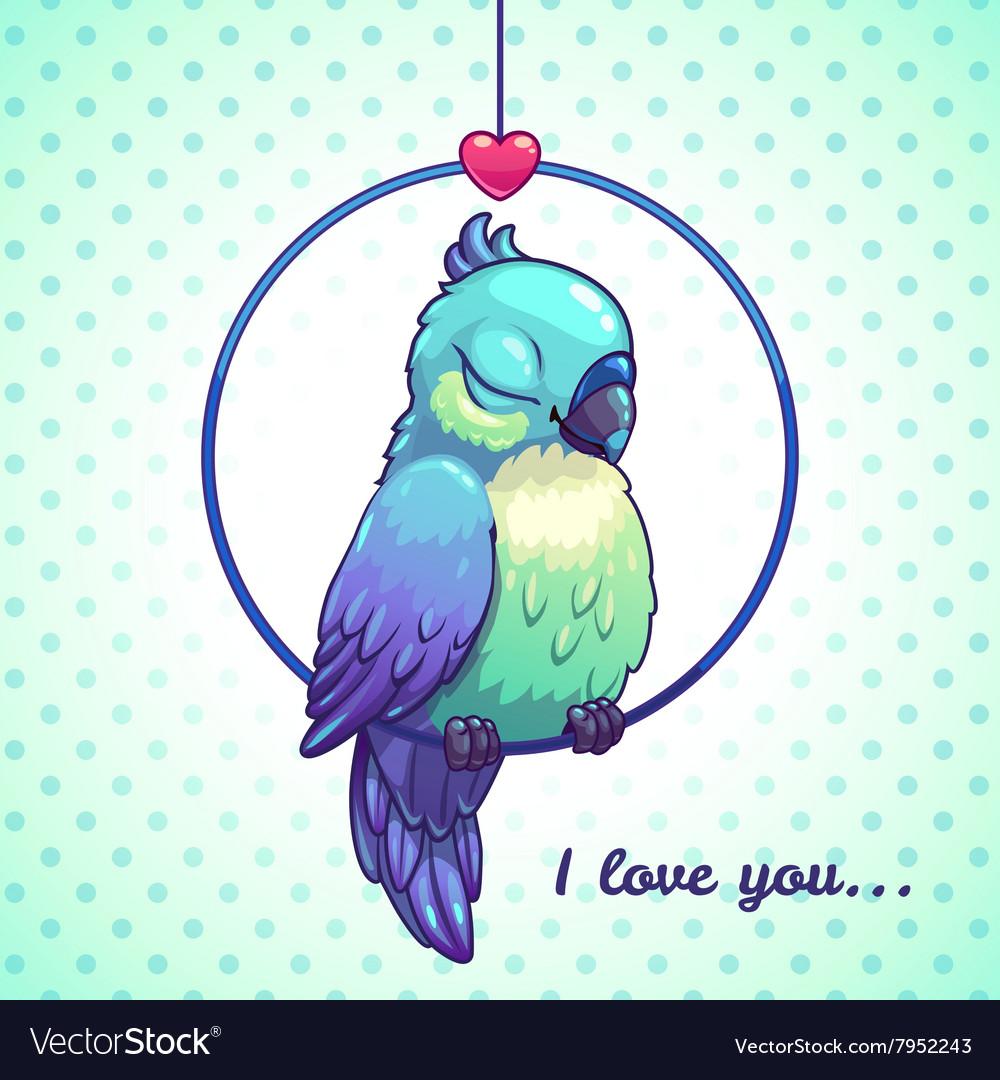 Cute cartoon blue bird