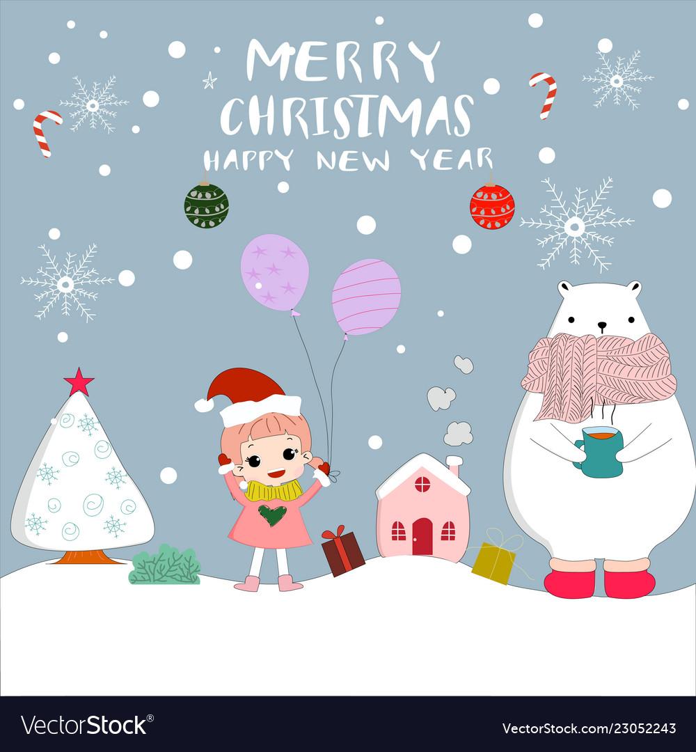 Merry Christmas Animals.Cute Merry Christmas Girl And Animal Cartoon Card