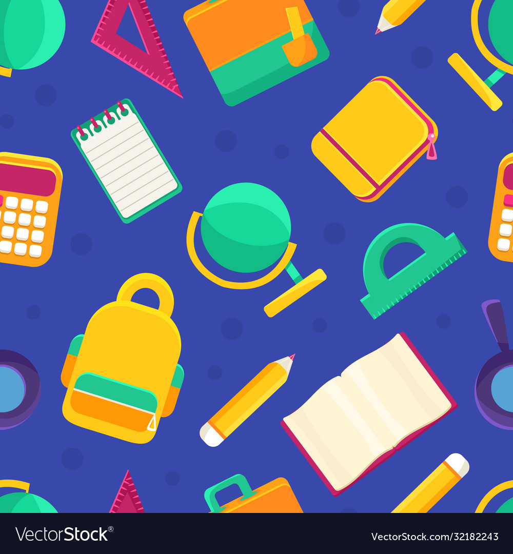 Educational supplies seamless pattern back to
