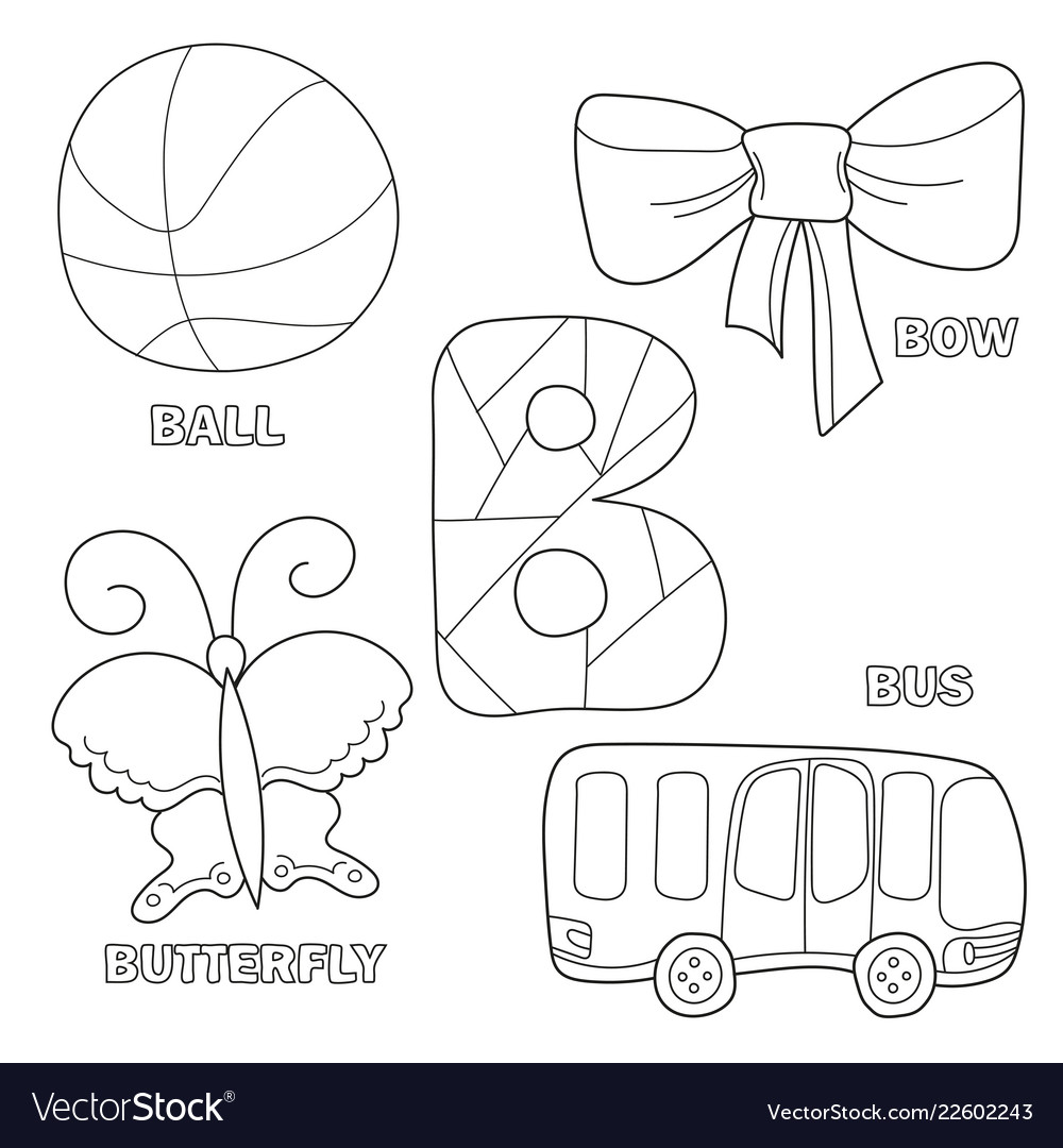 - Kids Alphabet Coloring Book Page With Outlined Vector Image