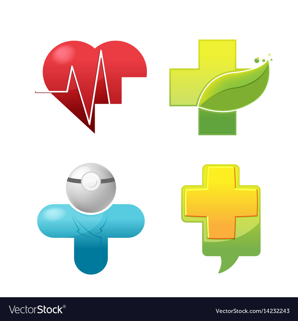 Medical icon symbol logo set vector image