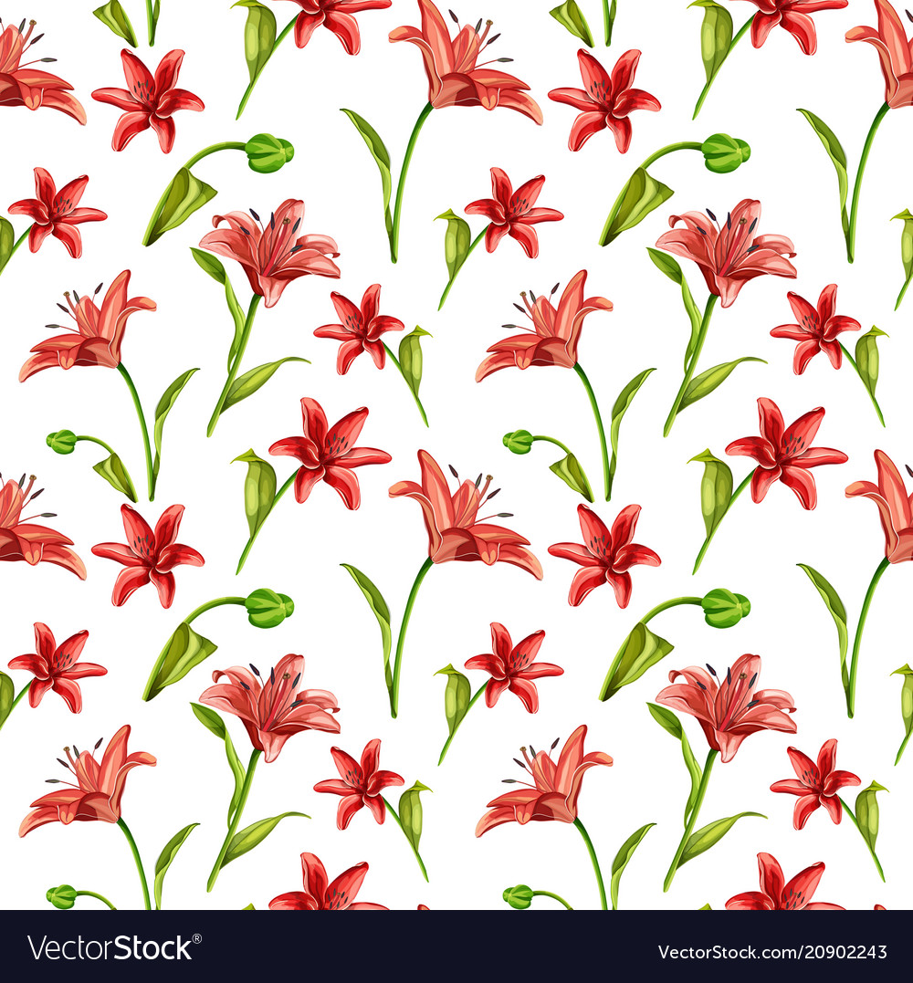 Realistic red lily blossom leaves stem set
