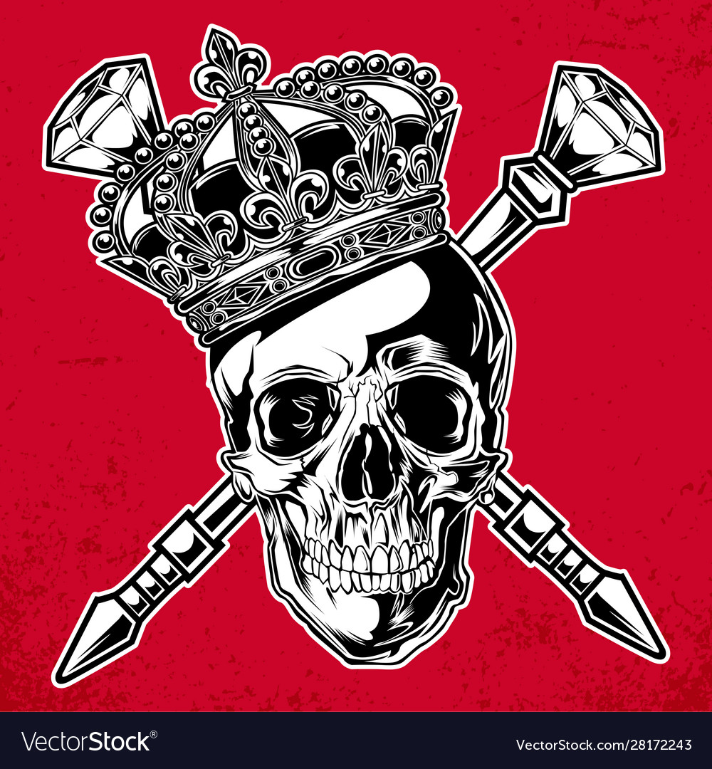 Skull king crown black red diamond