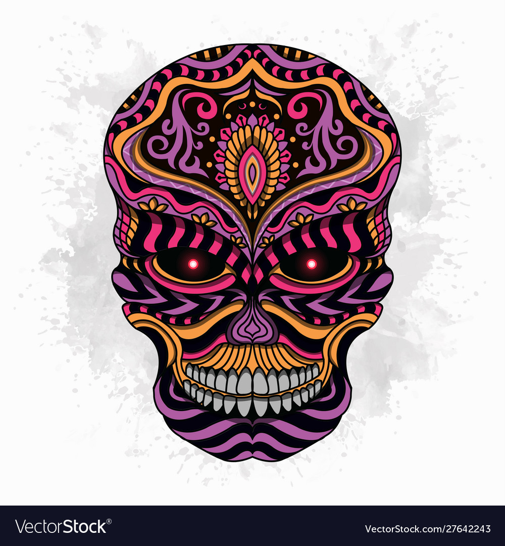 Stylized skull zentangle
