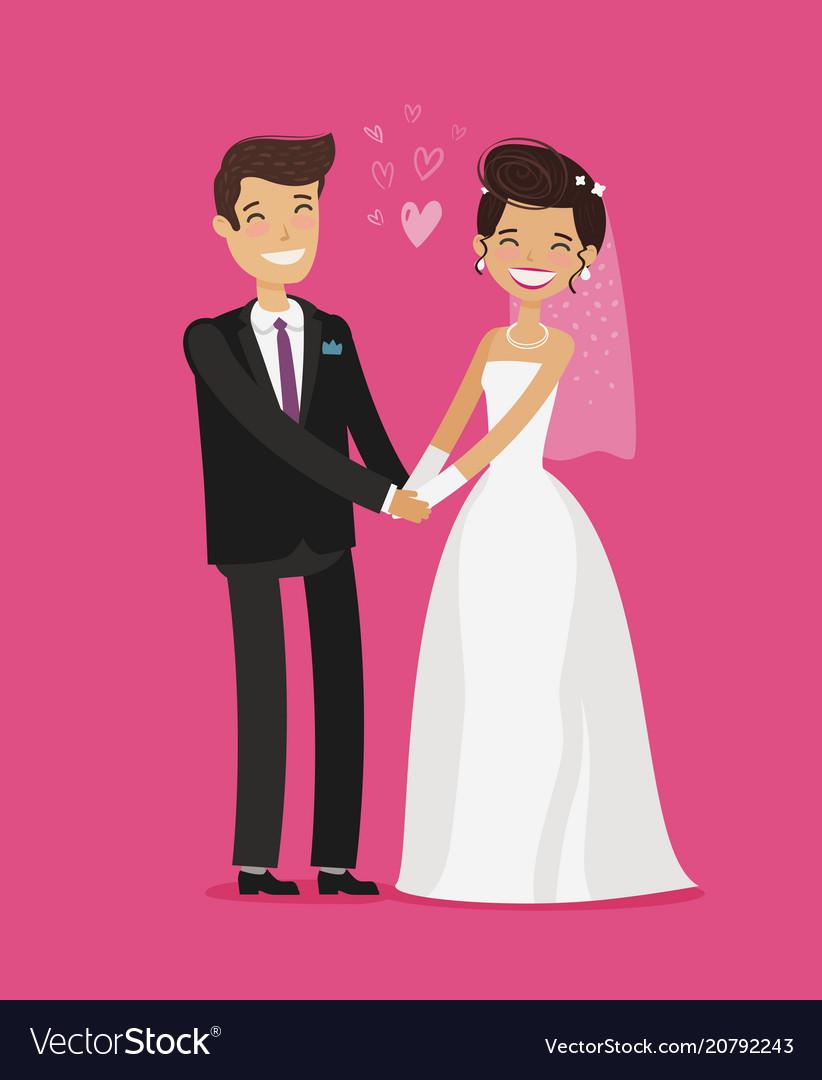 Wedding concept happy bride and groom holding
