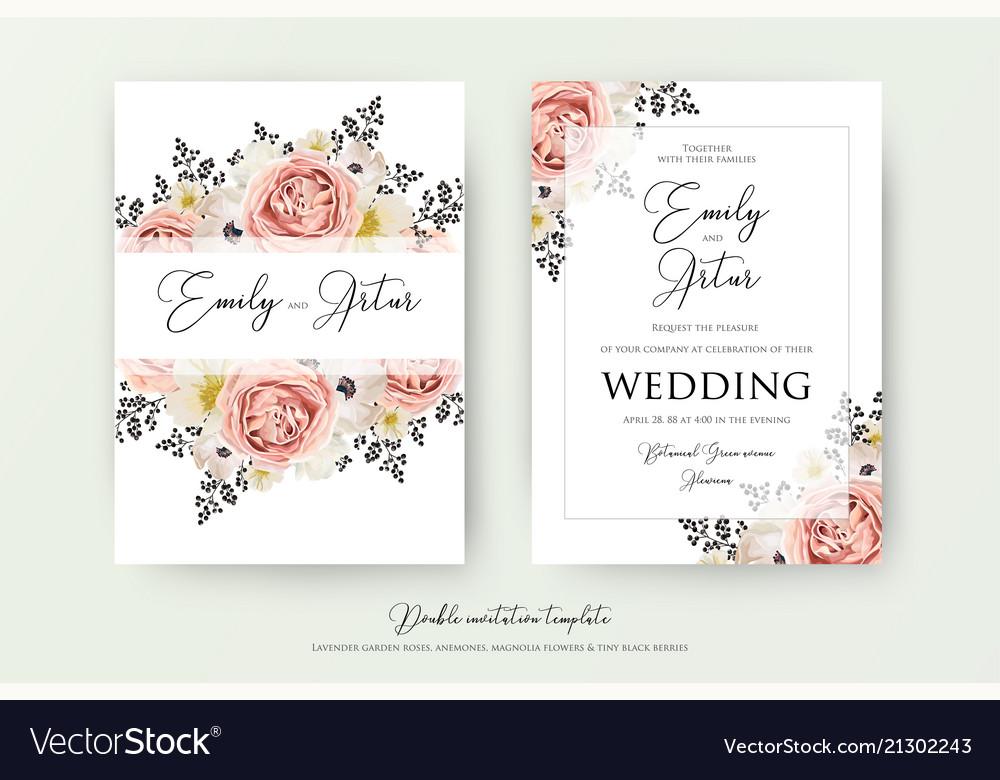 Wedding floral double watercolor invite