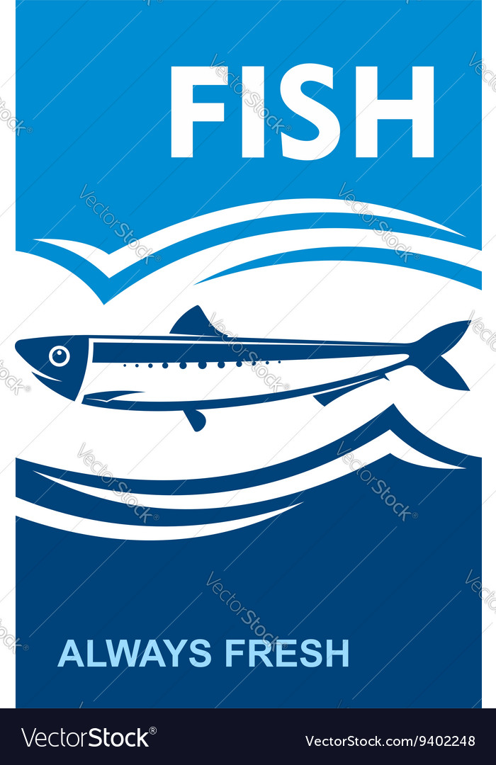 Always fresh fish icon for seafood design vector image