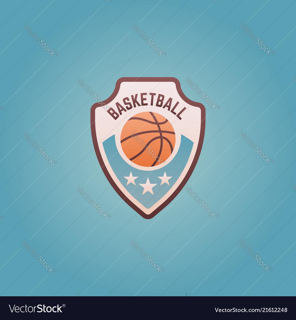 Basketball sport team shield colored emblem
