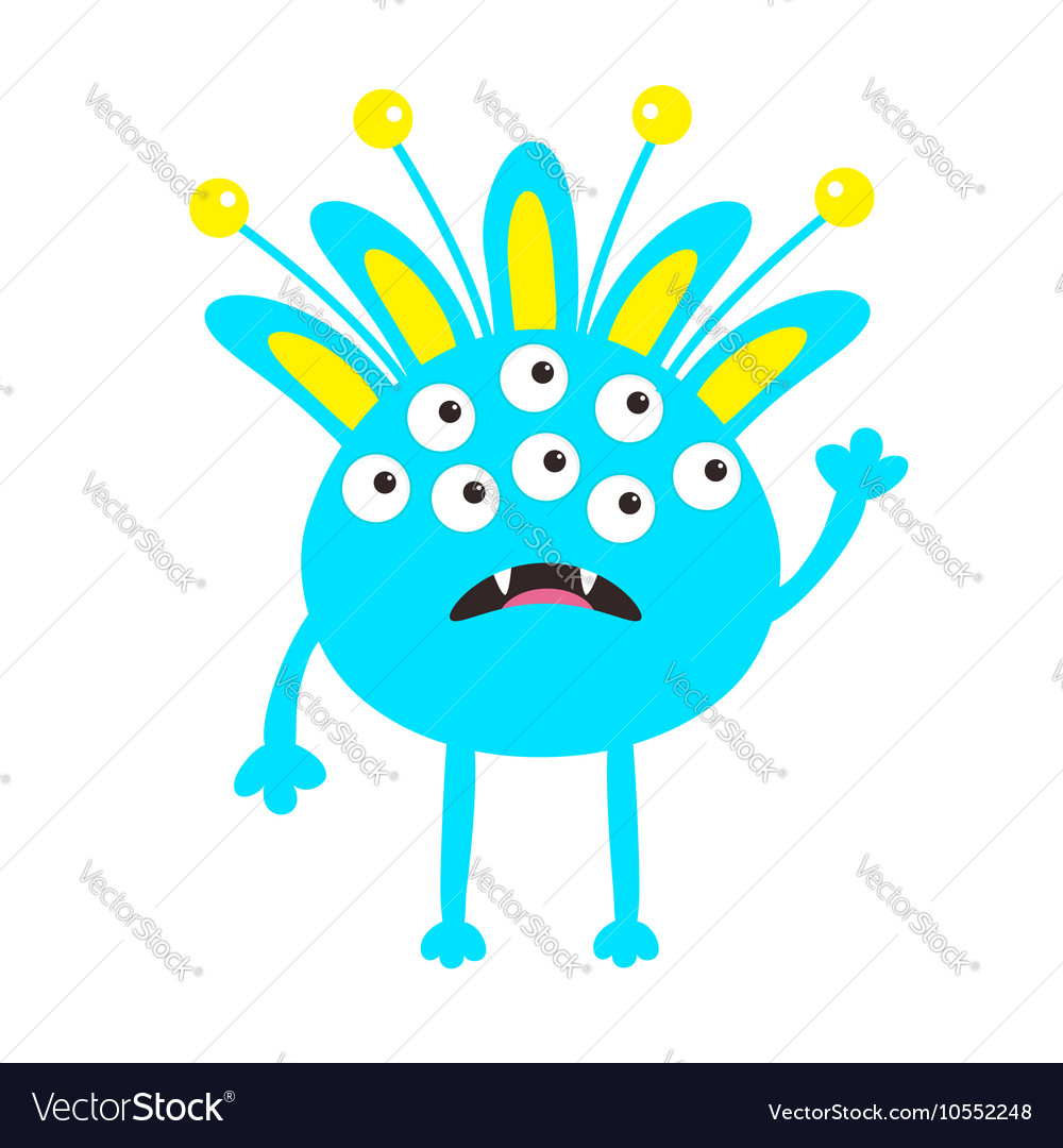 Blue monster with ears fang tooth and horns vector image