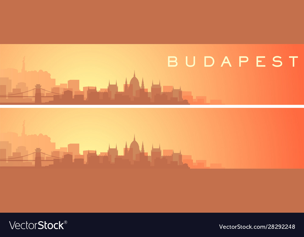 Budapest beautiful skyline scenery banner vector