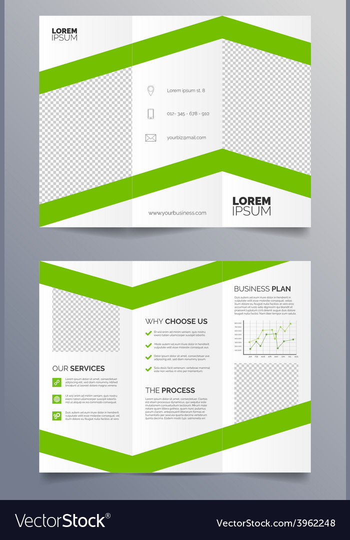 Business trifold brochure template - green