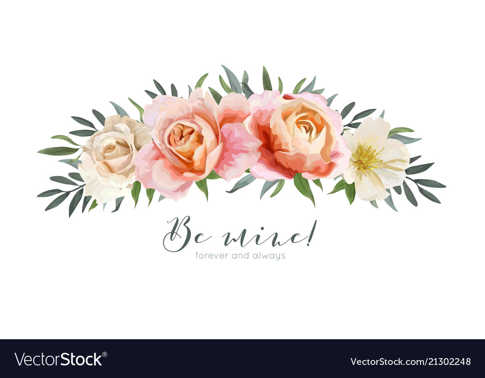 Floral bouquet design element with roses
