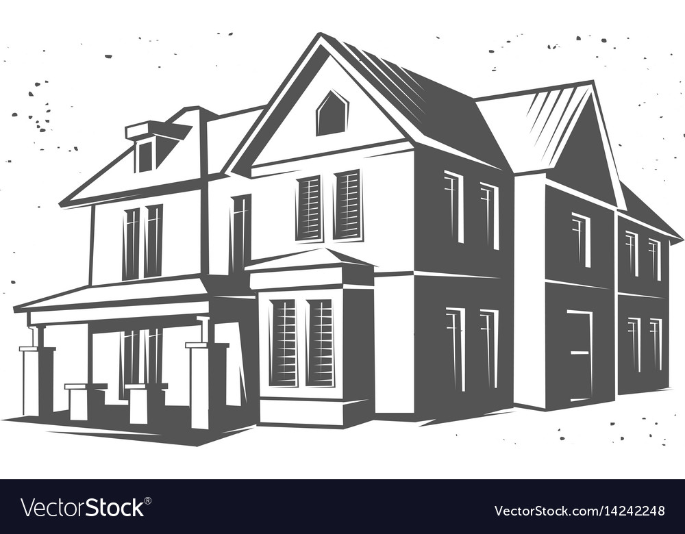 house silhouette black and white royalty free vector image