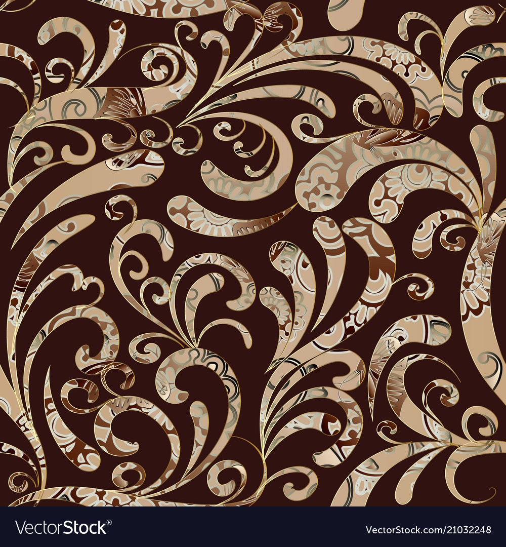 Paisleys Seamless Pattern Brown Floral Background Vector Image