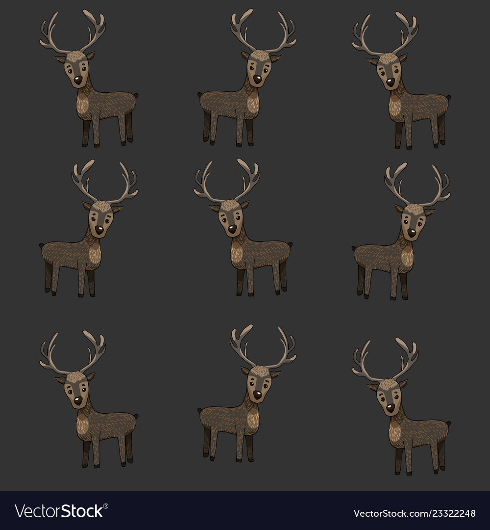 Pattern with horned deer