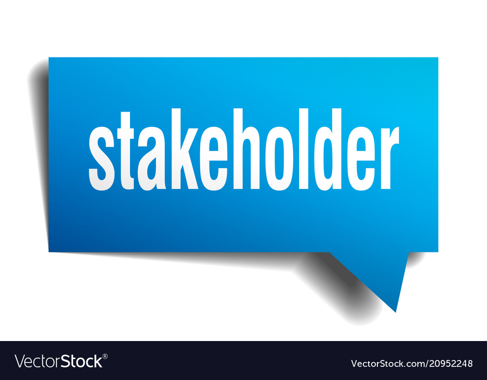 Stakeholder blue 3d speech bubble