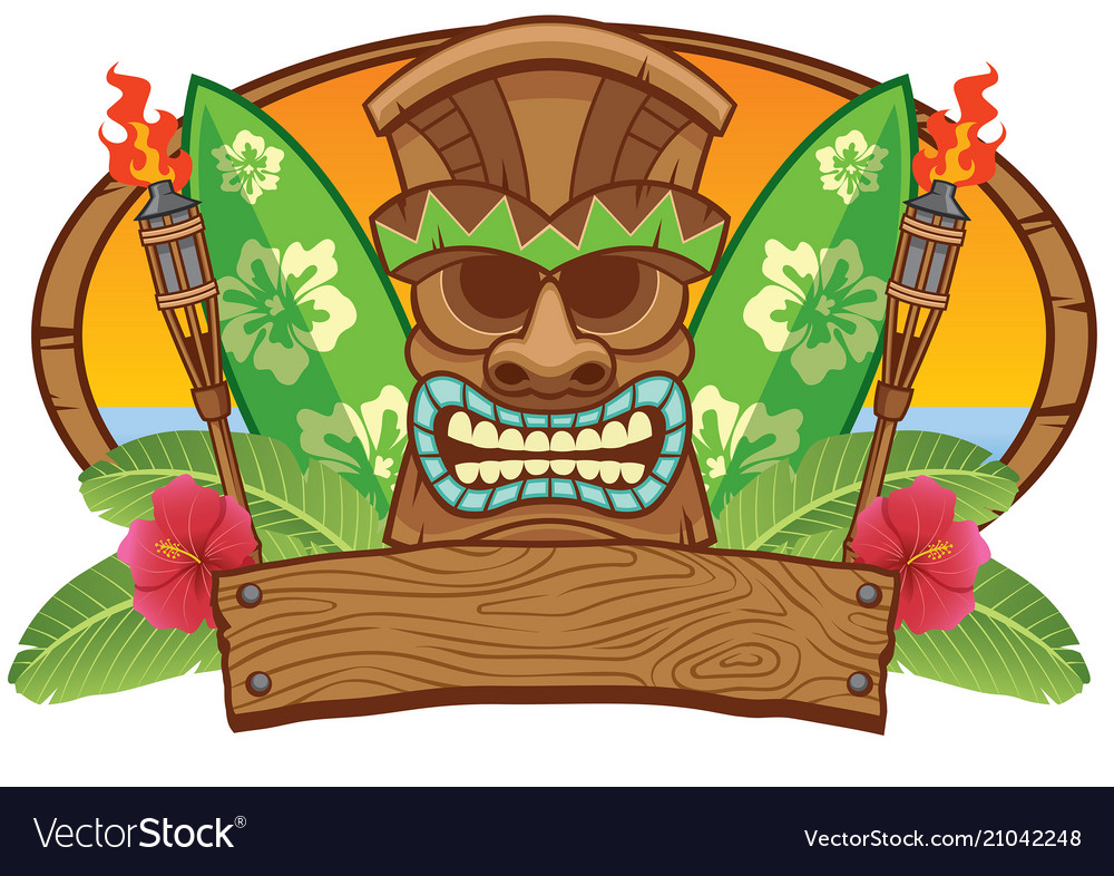 Tiki mask with surfing board Royalty Free Vector Image