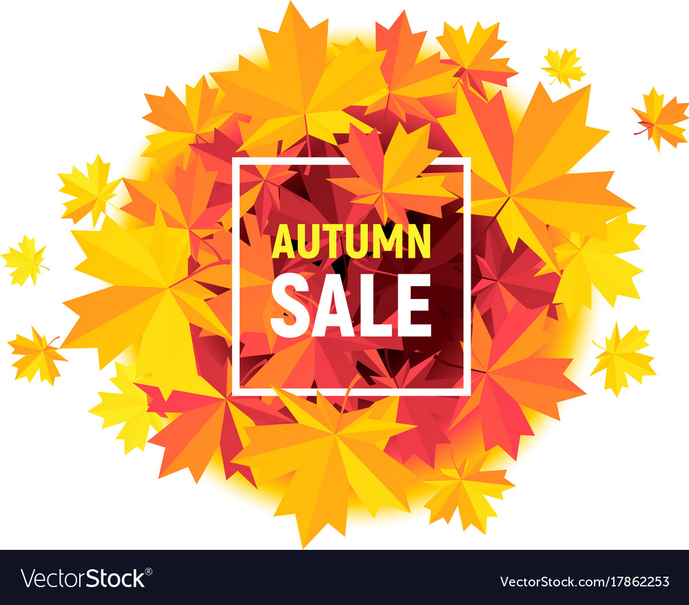 Autumn sale flyer with maple leaves on white