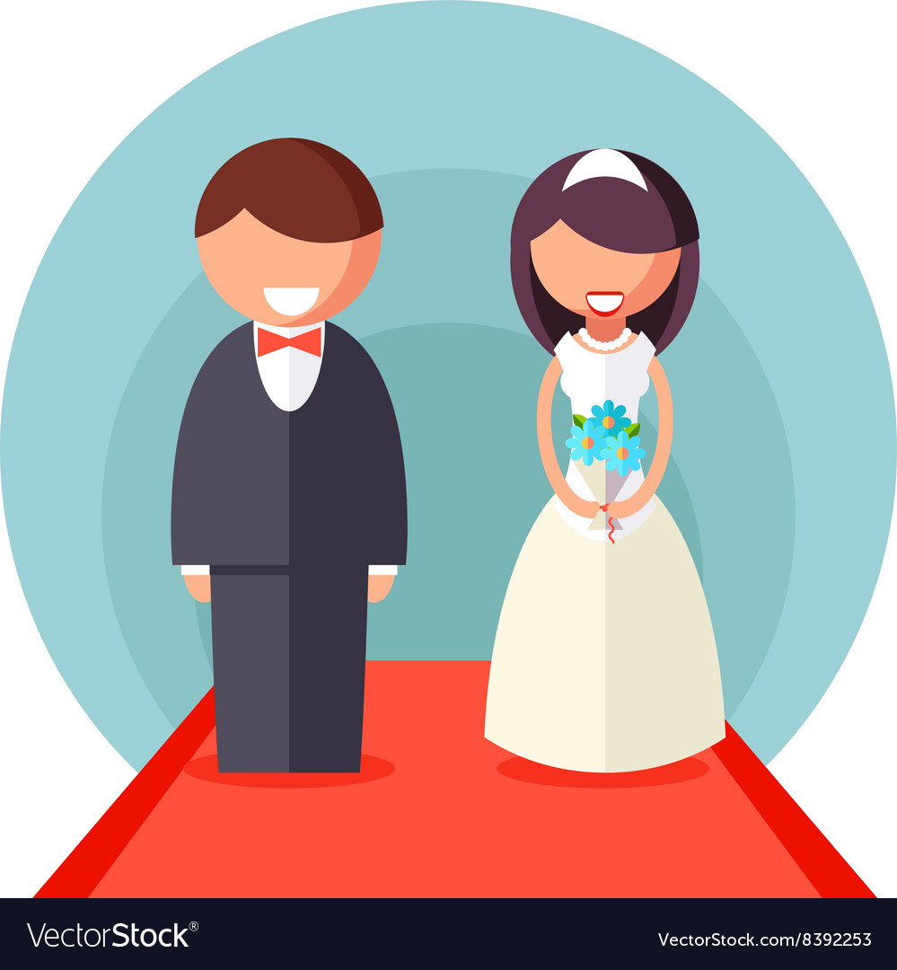 Bride and Groom Marriage Icon Wedding Symbol Flat vector image