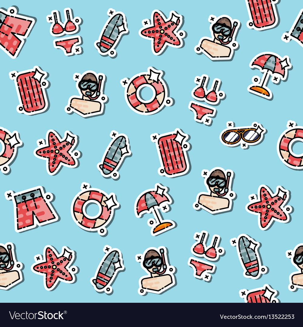 Colored swimming pattern vector image
