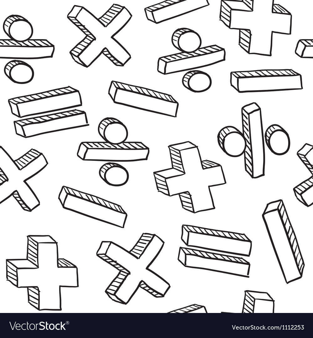 Doodle math pattern seamless vector image