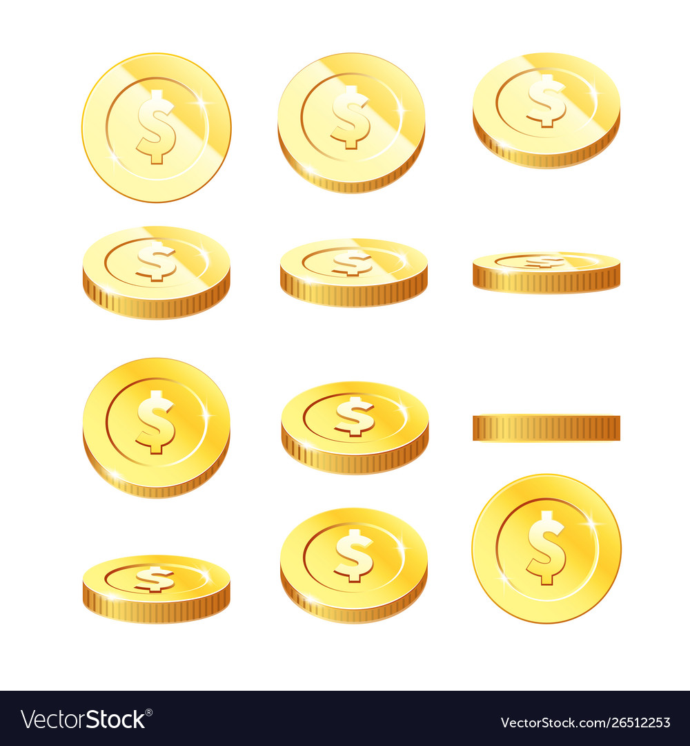 Golden coins set in rotation stages - flying